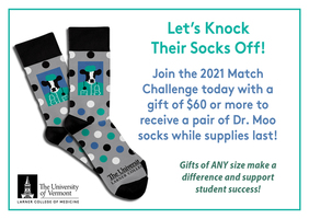Join the Match Challenge today! Make a gift of $60 or more and receive limited edition Dr. Moo socks while supplies last!